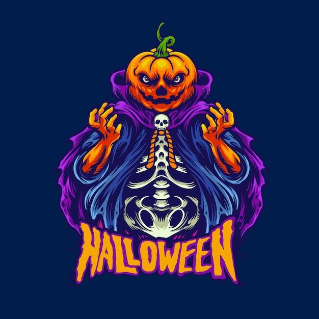Halloweenowa Głowa Dyni Premium Wektorów