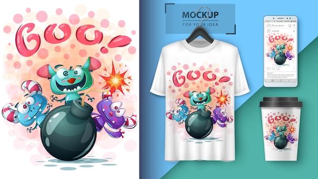 Halloweenowa horror ilustracja dla koszulki i merchandisingu Premium Wektorów