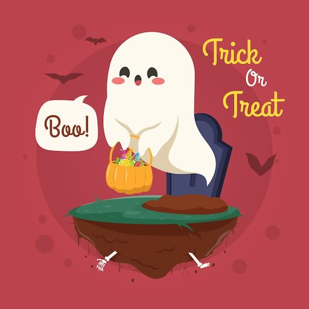 Halloweenowa Ilustracja Z Uroczym Duchem Lecącym Nad Cmentarzem Premium Wektorów