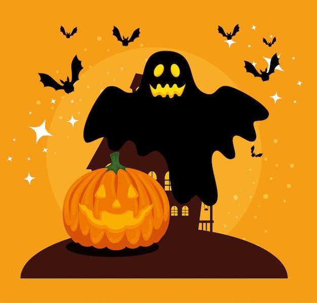 Halloweenowa Karta Z Banią I Duchem Darmowych Wektorów