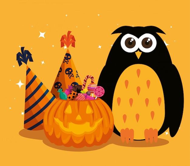 Halloweenowa karta z banią i sową Darmowych Wektorów