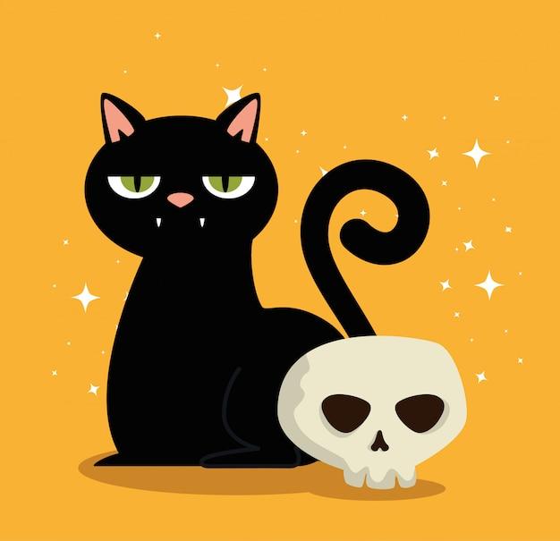 Halloweenowa karta z czarnym kotem i czaszką Darmowych Wektorów