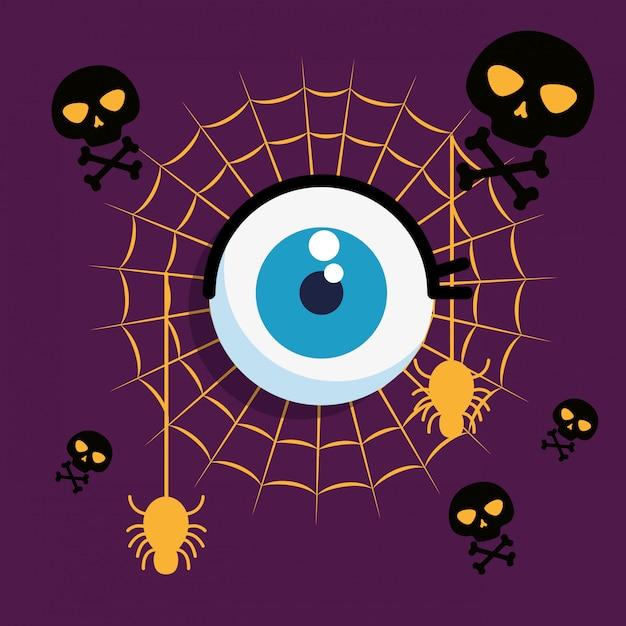 Halloweenowa karta z pająk siecią i oka człowiekiem Darmowych Wektorów