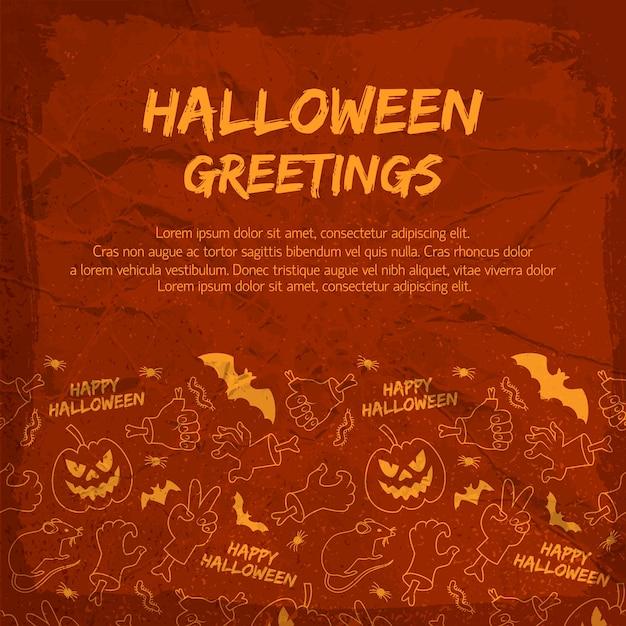 Halloweenowa Kartka Z życzeniami Ze Zwierzętami Latarnie Jack Rąk Z Kośćmi Na Teksturowanej Czerwonym Tle Darmowych Wektorów
