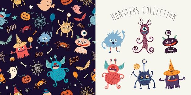 Halloweenowa kolekcja z bezszwowym wzorem i śmiesznymi potworami Premium Wektorów