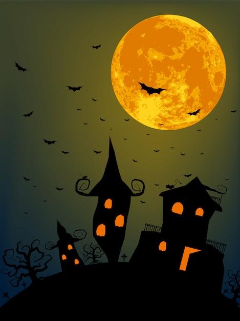 Halloweenowa Noc Przy Pełni Księżyca Premium Wektorów
