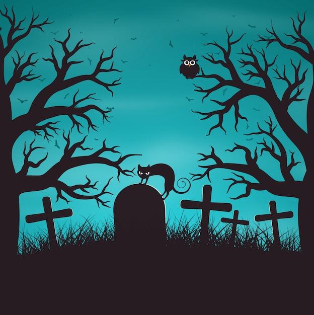Halloweenowa Noc W Drewnie Na Starym Cmentarzu Z Kotem Premium Wektorów