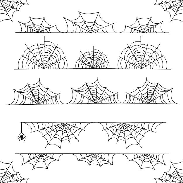 Halloweenowa pajęczyna wektoru ramy granica i dividers z pająk siecią Premium Wektorów