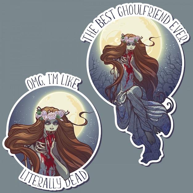 Halloweenowa Panna Młoda Zimbie Siedzi Na Grobie W Księżycowym Lesie Nad Cmentarzem. Zestaw Naklejek Halloween. Premium Wektorów