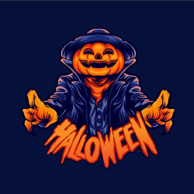 Halloweenowa Postać Jack O Lantern Premium Wektorów