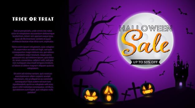 Halloweenowa sprzedaż sztandar z cmentarzem i księżyc Darmowych Wektorów