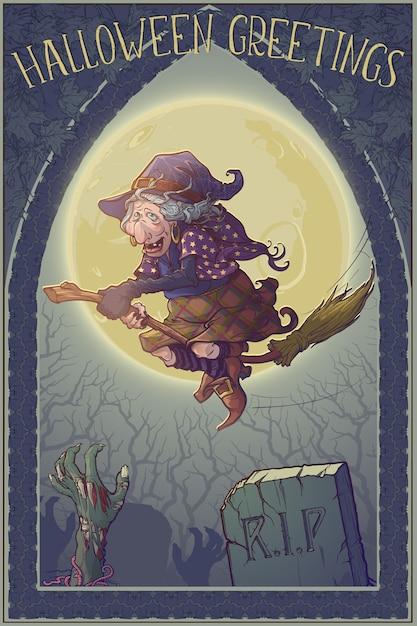 Halloweenowa Wiedźma Jadąca Na Miotle Przez Oświetlony Księżycem Las Nad Cmentarzem. Premium Wektorów
