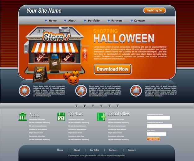 Halloweenowe Elementy Strony Internetowej Szablon Ciemny Pomarańczowy Premium Wektorów