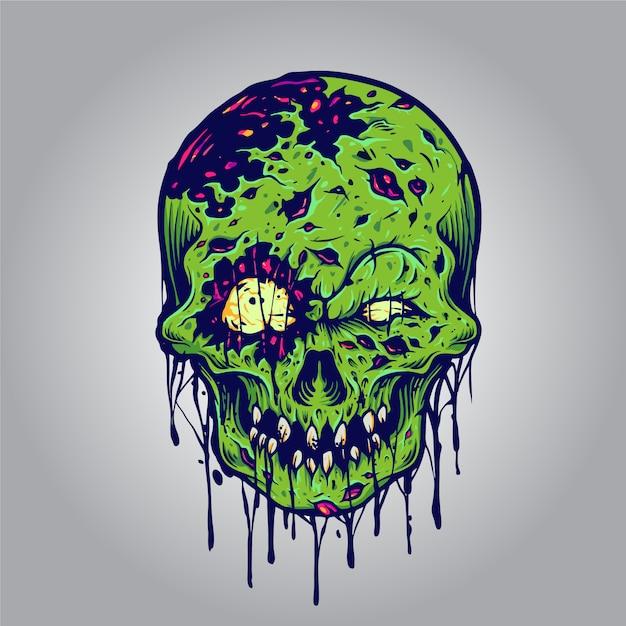 Halloweenowe Ilustracje Czaszki Zombie Przedstawiające Linię Odzieży I Naklejki Premium Wektorów