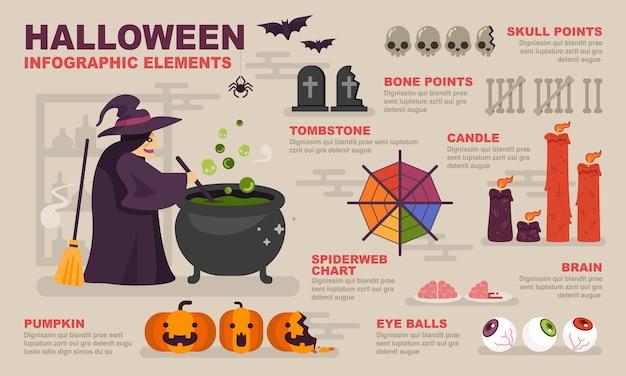 Halloweenowe Infographic Elementy. Premium Wektorów