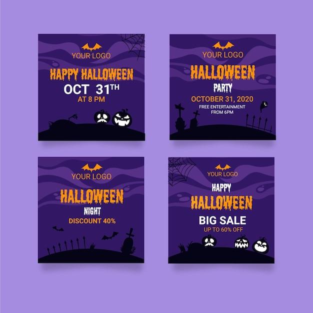 Halloweenowe Posty Na Instagramie Darmowych Wektorów