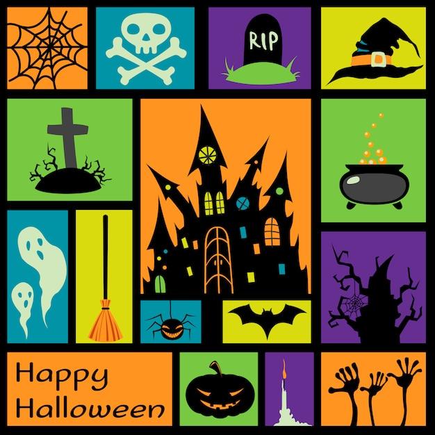 Halloweenowi elementy w kolorowych kwadratach Premium Wektorów