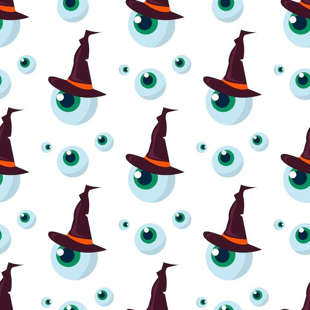 Halloweenowy bezszwowy deseniowy ducha straszny. Premium Wektorów