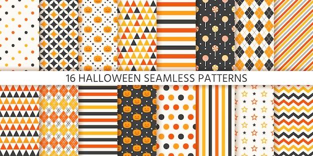 Halloweenowy Bezszwowy Wzór. Ilustracja. Geometryczny Papier Do Pakowania. Premium Wektorów