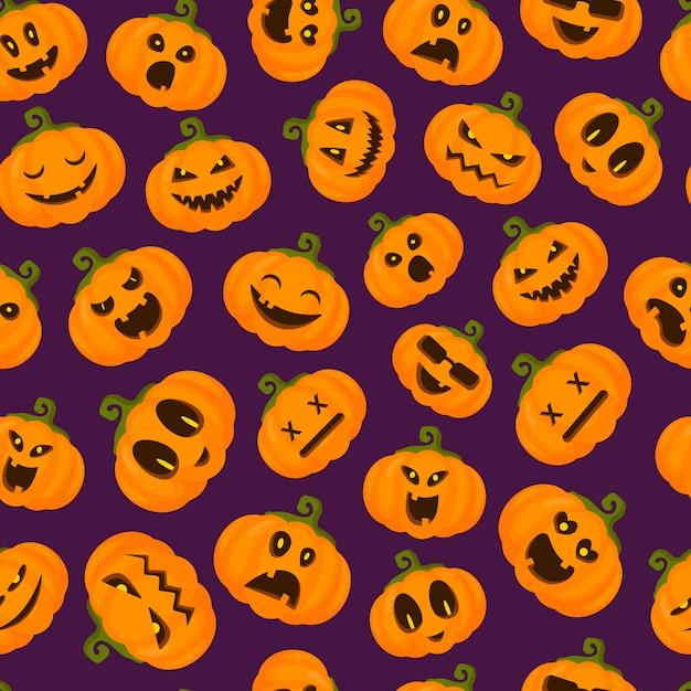Halloweenowy bezszwowy wzór z emoji dyniami, śmiesznymi i strasznymi przerażającymi postaciami, wyrazami twarzy Premium Wektorów