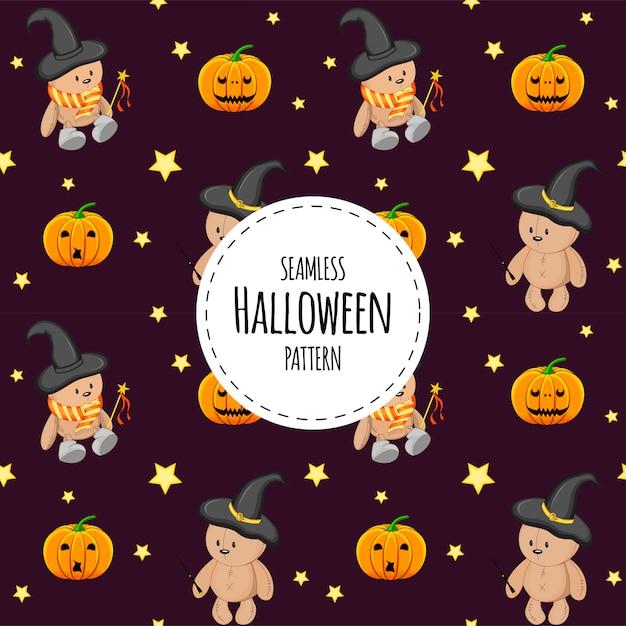 Halloweenowy Bezszwowy Wzór Z Misiami. Styl Kreskówkowy. Premium Wektorów