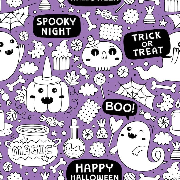 Halloweenowy bezszwowy wzór Premium Wektorów