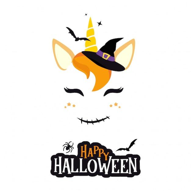 Halloweenowy charakter jednorożca. Premium Wektorów