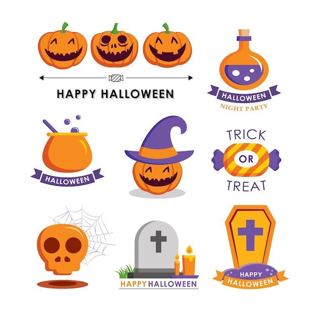 Halloweenowy Element Symbol Zestaw Płaski Raczy. Symbole Na Stronie Internetowej, Druku, Czasopiśmie, Naklejce I Plakietce. Premium Wektorów