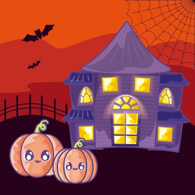 Halloweenowy Horroru Dom Na Halloween Scenie Premium Wektorów