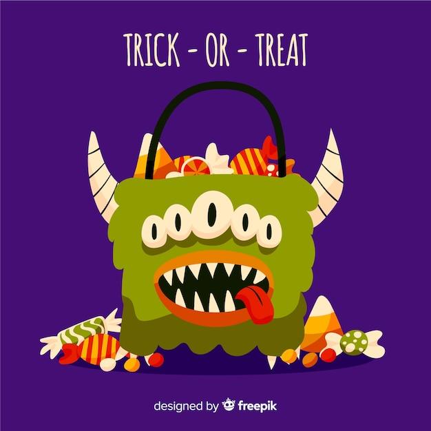 Halloweenowy kosz potworów pełen cukierków i słodyczy Darmowych Wektorów
