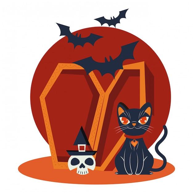 Halloweenowy kot maskował scenę charakteru Darmowych Wektorów