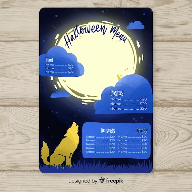 Halloweenowy menu szablon z wilkiem Darmowych Wektorów