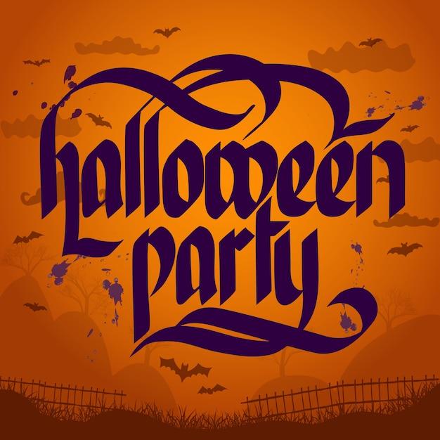 Halloweenowy Napis Typograficzny Darmowych Wektorów