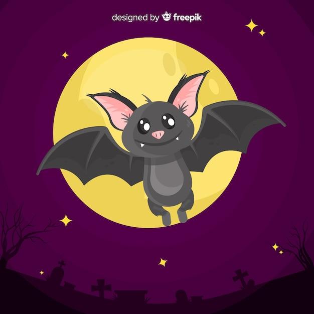 Halloweenowy Nietoperza Tło W Płaskim Projekcie Darmowych Wektorów