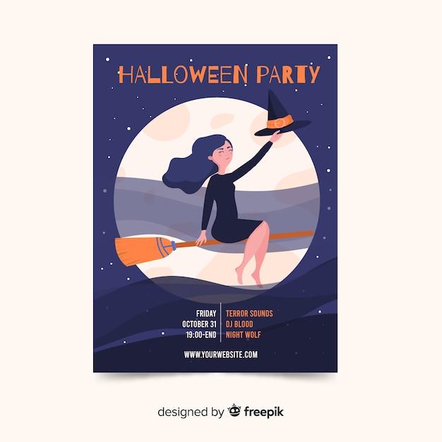 Halloweenowy plakat z czarownicą na miotle Darmowych Wektorów