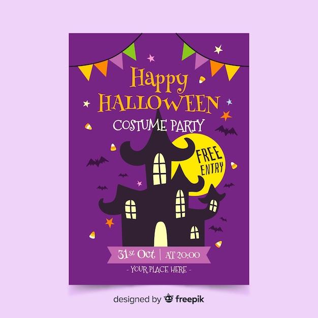 Halloweenowy Plakat Z Domem W Nocy Darmowych Wektorów