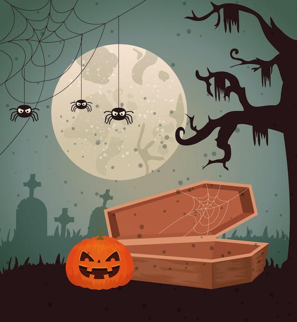 Halloweenowy projekt nad cmentarzem Darmowych Wektorów