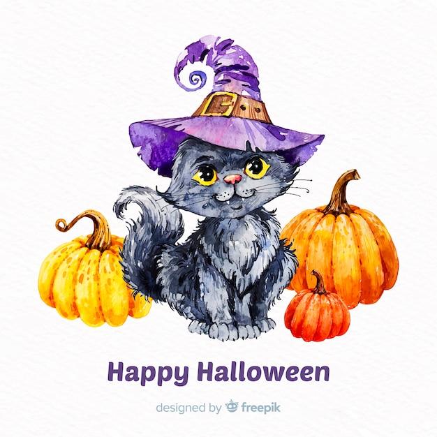Halloweenowy śliczny kota tło w akwareli Darmowych Wektorów