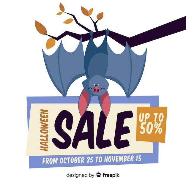 Halloweenowy Sprzedaż Skład Z Płaskim Projektem Darmowych Wektorów
