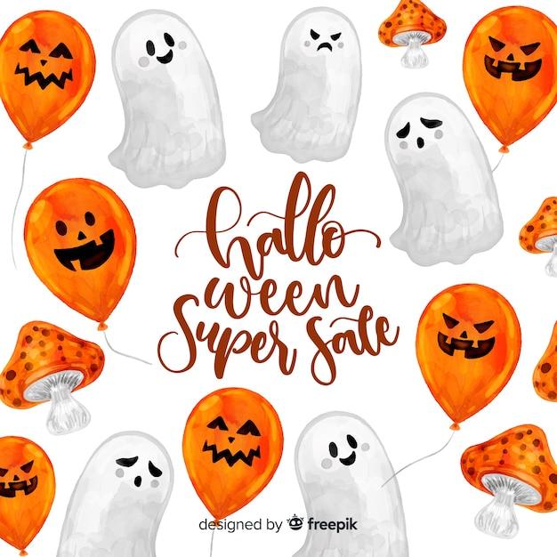 Halloweenowy sprzedaży pojęcie w akwareli Darmowych Wektorów