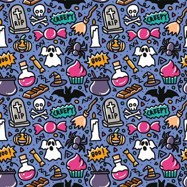 Halloweenowy Straszny Doodle Elementu Wzór Premium Wektorów