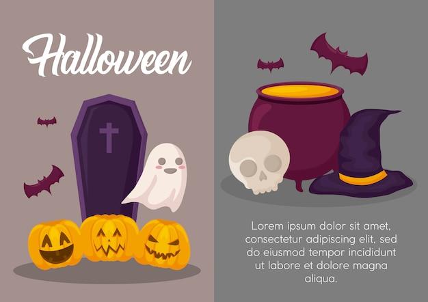 Halloweenowy świętowanie sztandar Darmowych Wektorów