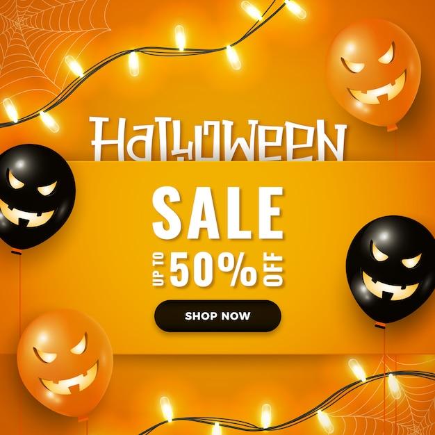 Halloweenowy sztandar sprzedaż z halloweenowymi balonami, girlandami zaświeca na pomarańcze Premium Wektorów