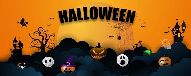 Halloweenowy Sztandar Premium Wektorów