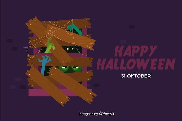 Halloweenowy tło na płaskim projekcie Darmowych Wektorów