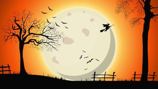 Halloweenowy tło, noc krajobraz z dużym żółtym księżyc w pełni, starymi drzewami i czarownicami na niebie Premium Wektorów