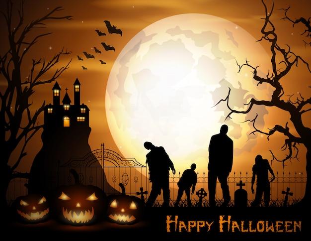 Halloweenowy Tło Z Baniami Premium Wektorów