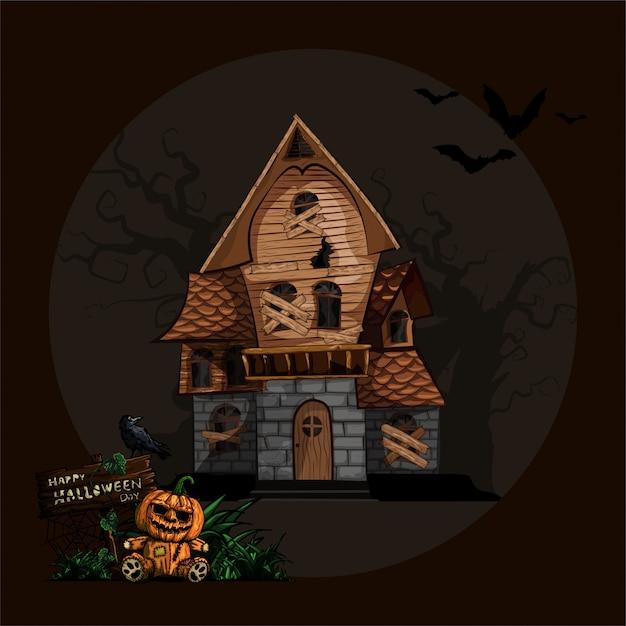 Halloweenowy Tło Z Nawiedzającym Domem Premium Wektorów