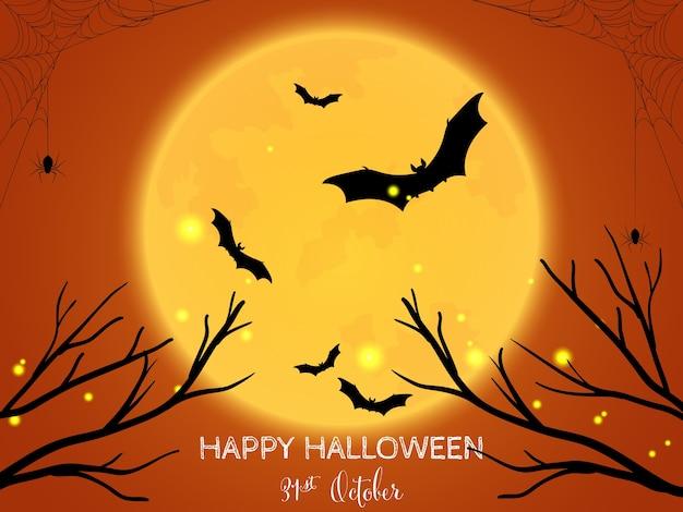 Halloweenowy Tło Z Szczęśliwym Halloweenowym Tekstem. Premium Wektorów