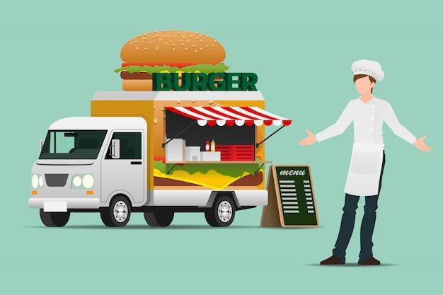 Hamburger Ciężarówki Z Jedzeniem. Premium Wektorów